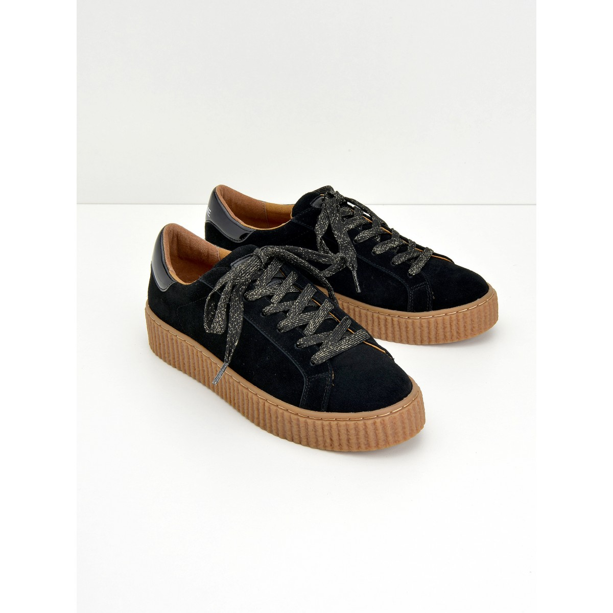 No Name PICADILLY SNEAKER - SUEDE - BLACK SOLE MASTIC