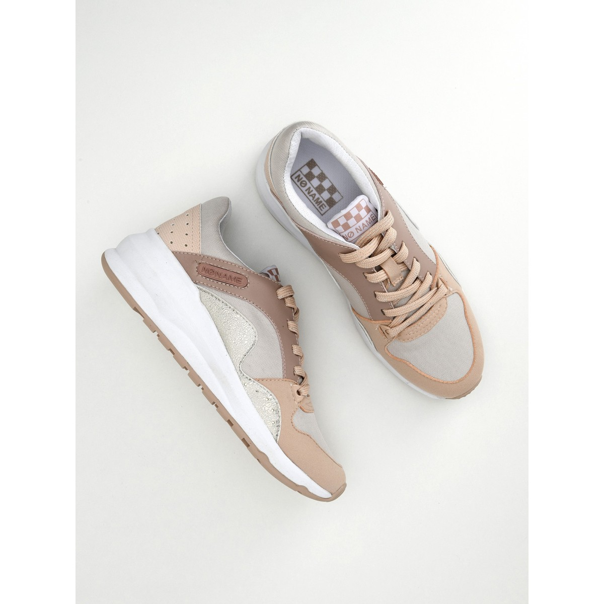 No Name Sono Trainer - Nylon/Split - Beige/Poudre