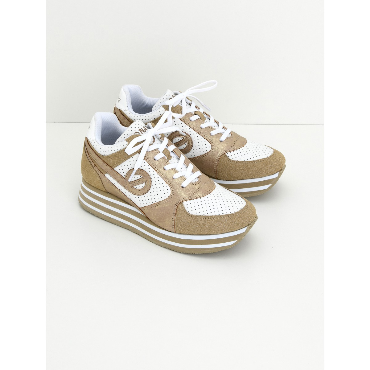 No Name Parko Jogger - Nap.Perfo/Split - White/Sand
