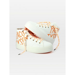 PLATO MID CUT PACO - TWILL - WHITE PRINT ORANGE