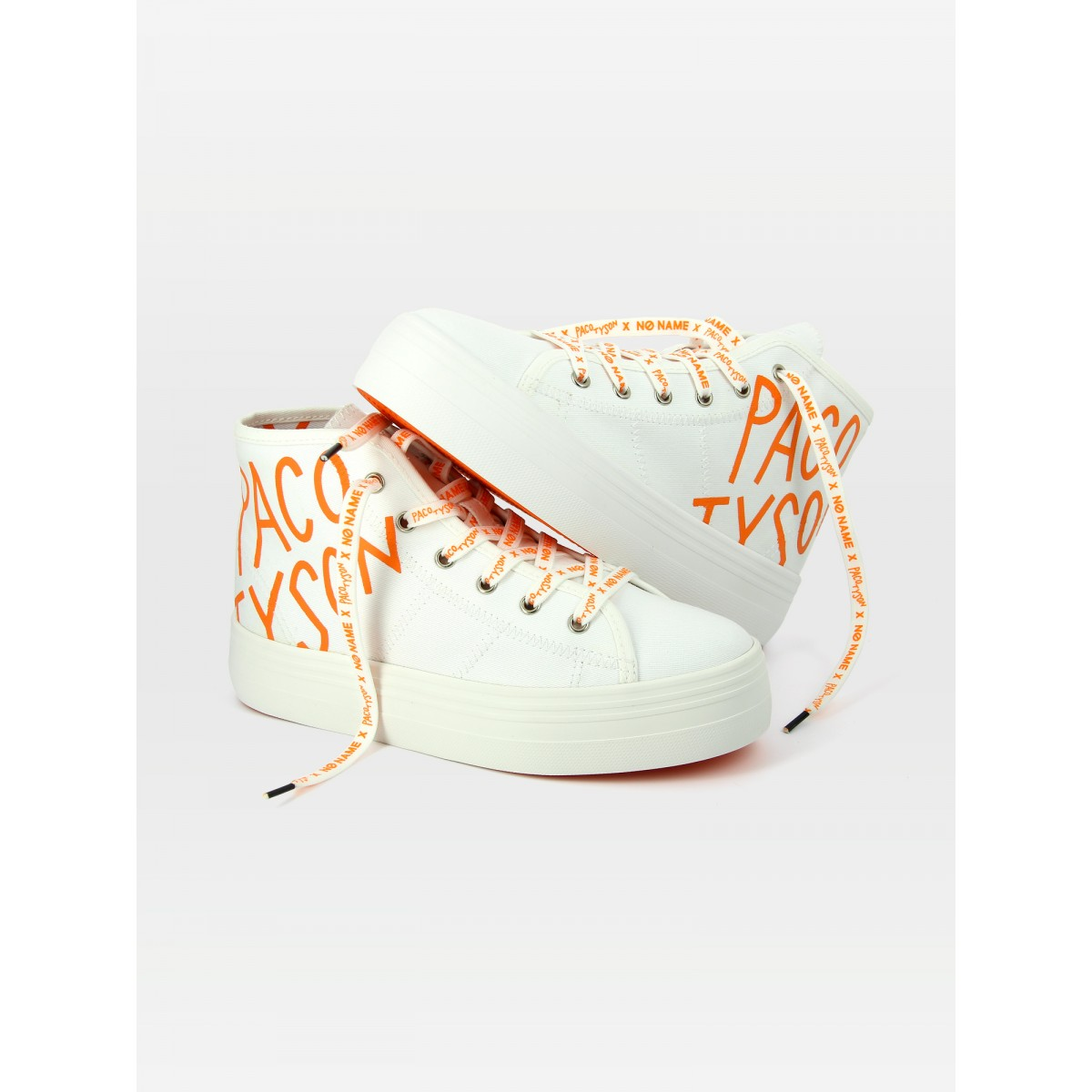 No Name PLATO MID CUT PACO - TWILL - WHITE PRINT ORANGE
