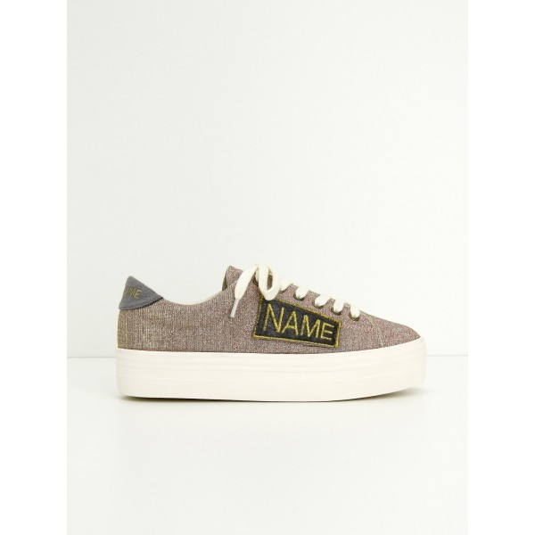 NO NAME PLATO SNEAKER - STRASS/PATCH - PINK/SILVER