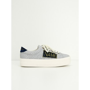 PLATO SNEAKER - STRASS/PATCH - SILVER/ROYAL BLUE
