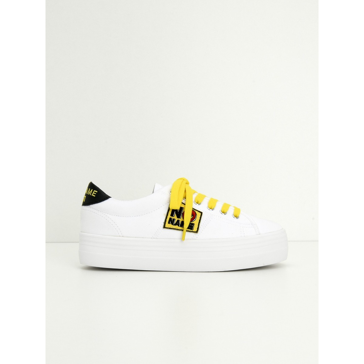 No Name PLATO SNEAKER - CANVAS/PATCH - WHITE/YELLOW