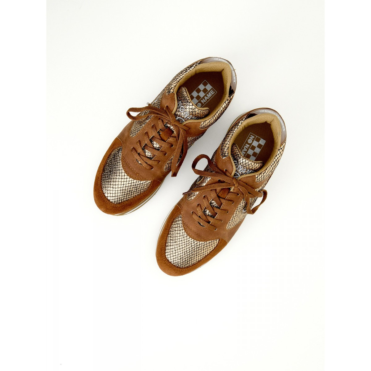 No Name PARKO JOGGER - LADY/SUEDE - BRONZE/DEEP COGNAC