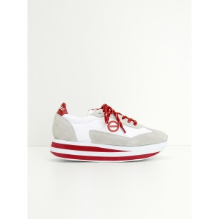 FLEX JOGGER - NYLON/SUEDE - WHITE/WHITE/RED
