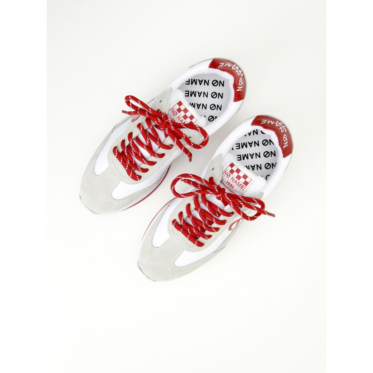 No Name FLEX JOGGER - NYLON/SUEDE - WHITE/WHITE/RED