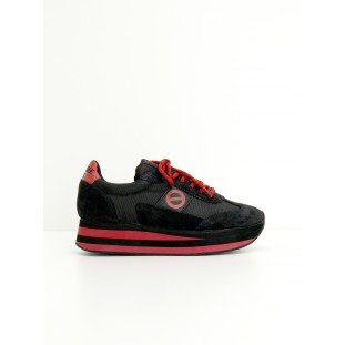 FLEX JOGGER - NYLON/SUEDE - BLACK/BLACK/RED