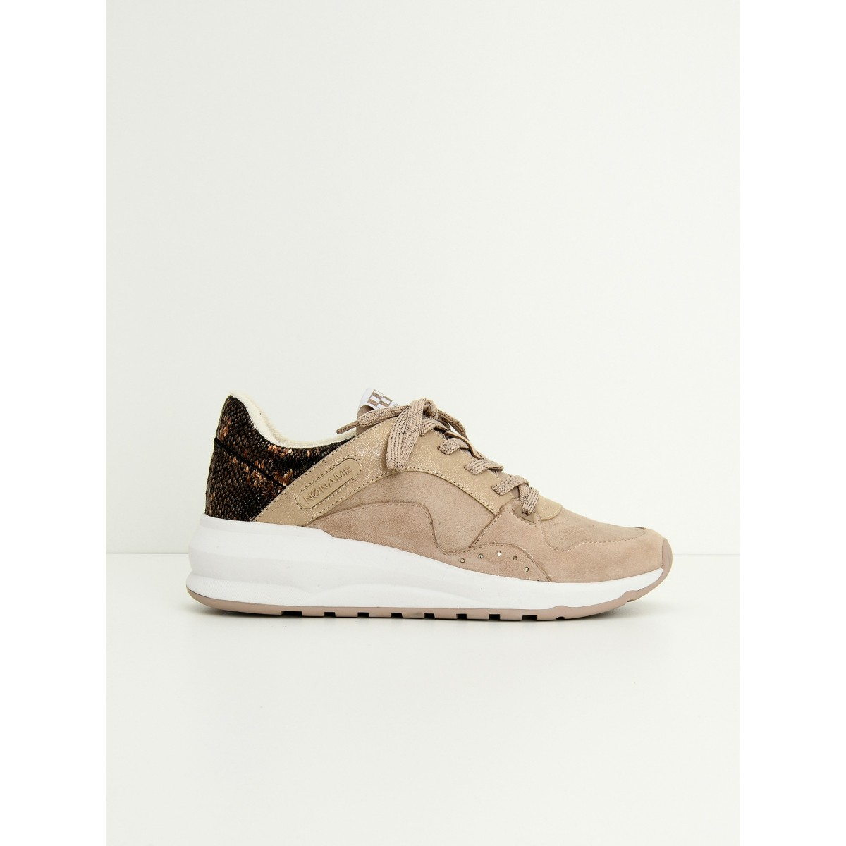 No Name SONO TRAINER - G.SUEDE/PURSE - NUDE/NUDE