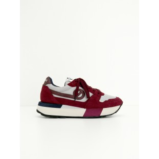 BODY JOGGER - BIG NYLON/SUEDE - PERLE/BORDEAUX