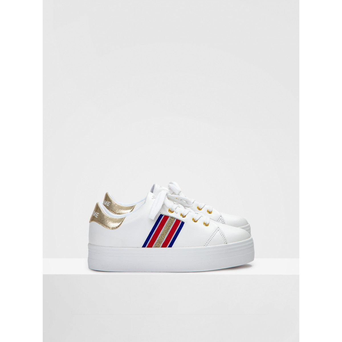 No Name PLATO DERBY - NAPPA/CRACKLE - WHITE/GOLD FOX WHITE