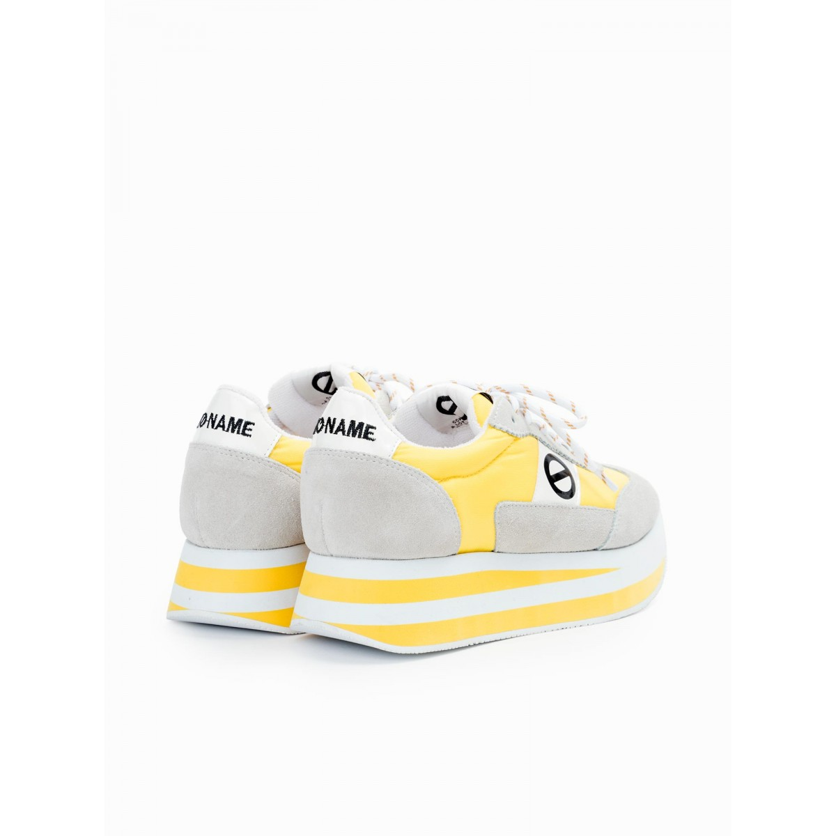 No Name FLEX JOGGER - SUEDE/NYLON - WHITE/YELLOW
