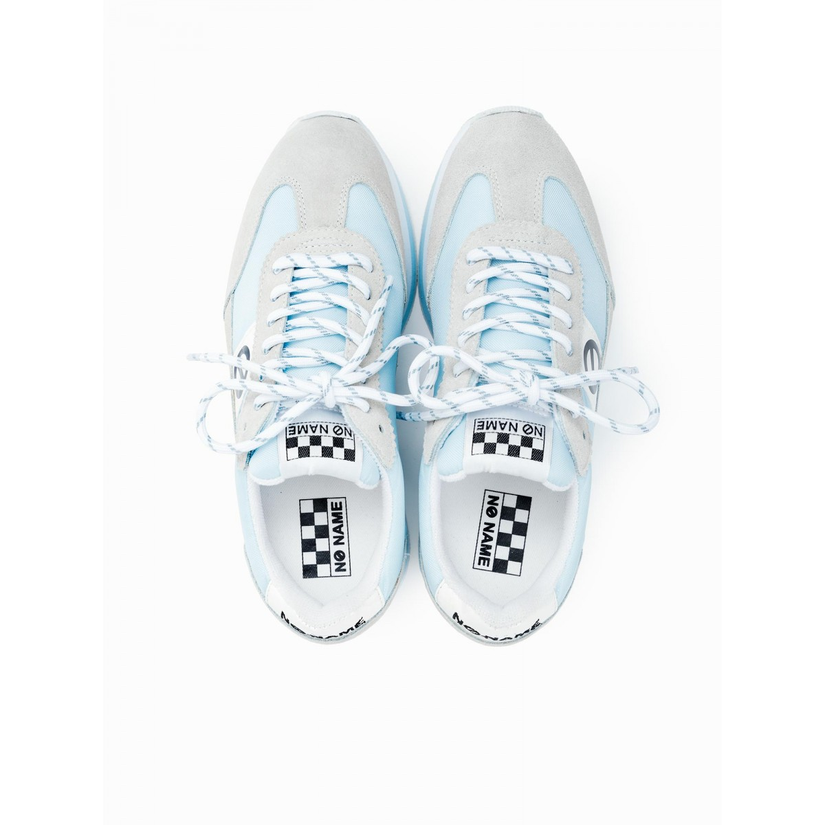 No Name FLEX JOGGER - SUEDE/NYLON - WHITE/L.BLUE