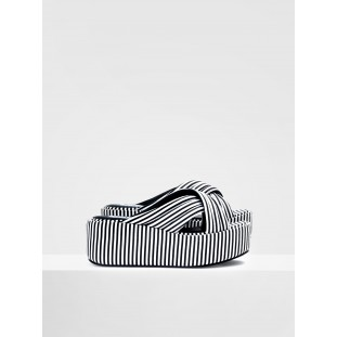 BETTY MULE - STRIPES - BLACK