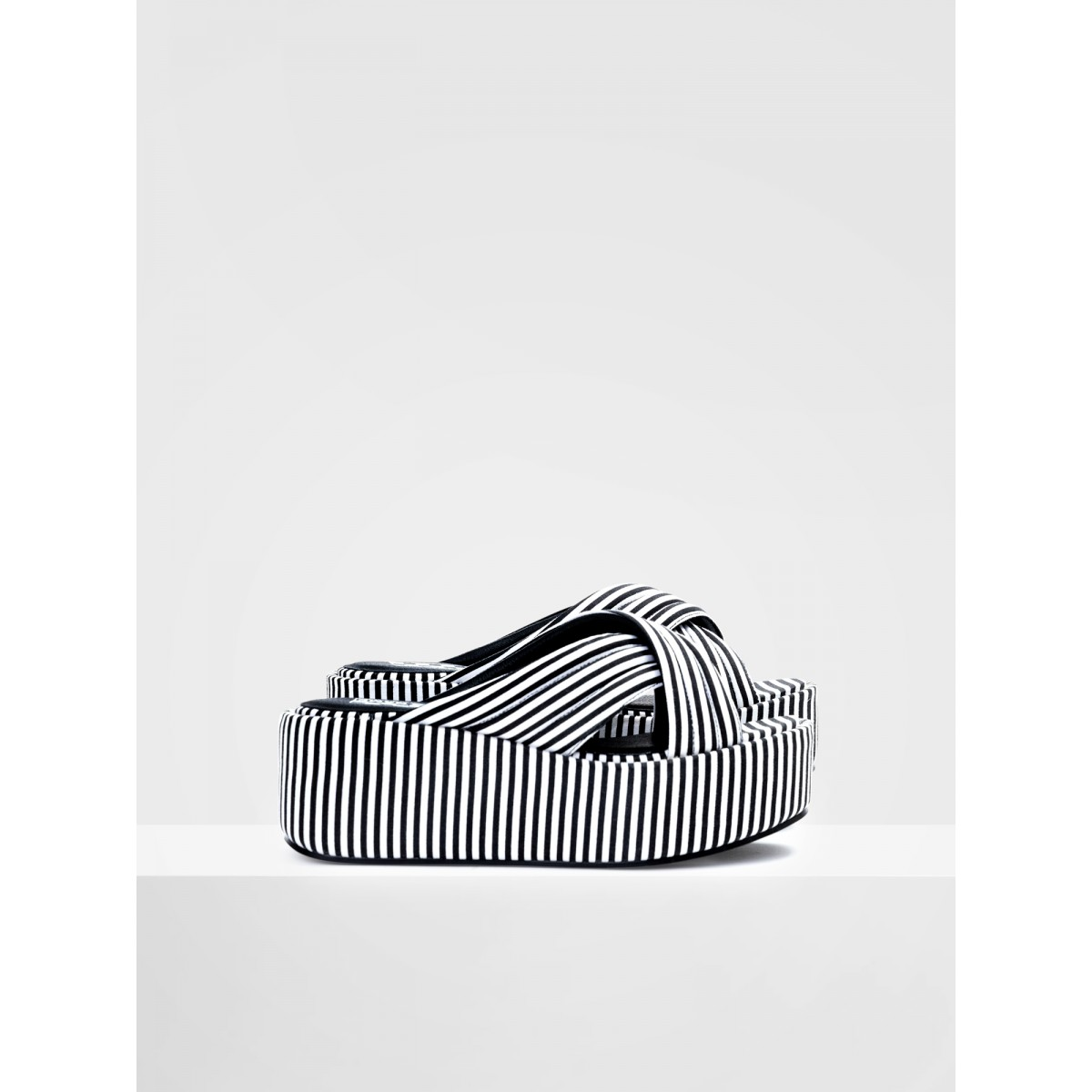 No Name BETTY MULE - STRIPES - BLACK