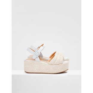BETTY SANDAL - RAPHIA - WHITE-NATURAL