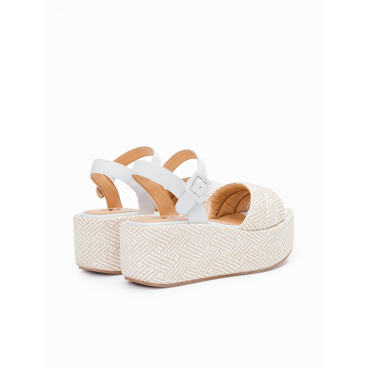No Name BETTY SANDAL - RAPHIA - WHITE-NATURAL