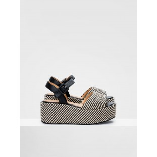 BETTY SANDAL - RAPHIA - BLACK-NATURAL