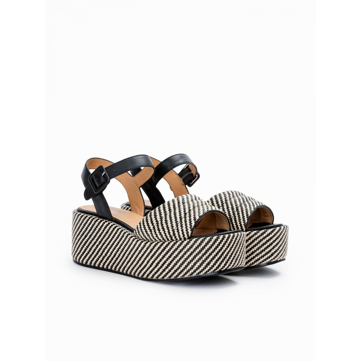 No Name BETTY SANDAL - RAPHIA - BLACK-NATURAL