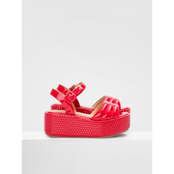 NO NAME BETTY SANDAL - PATENT - RED