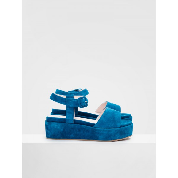 NO NAME MARTA SANDAL - KID SUEDE - PETROLE