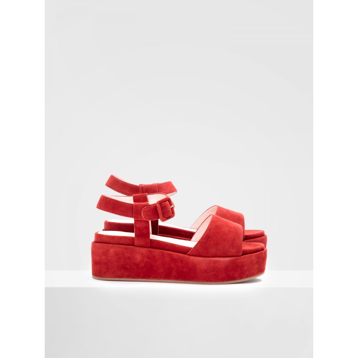 No Name MARTA SANDAL - KID SUEDE - CARMIN