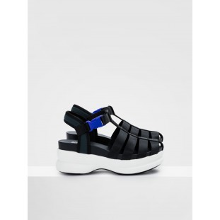 CONCRETE STRAPPY - NYLON - BLACK SOLE WHITE