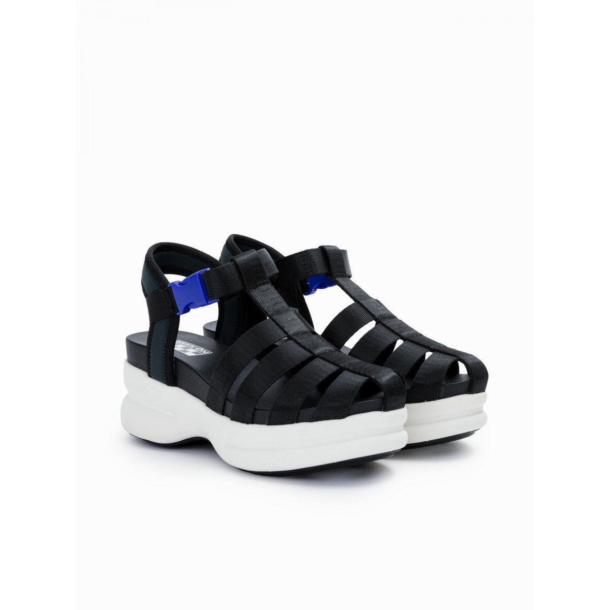 No Name CONCRETE STRAPPY - NYLON - BLACK SOLE WHITE