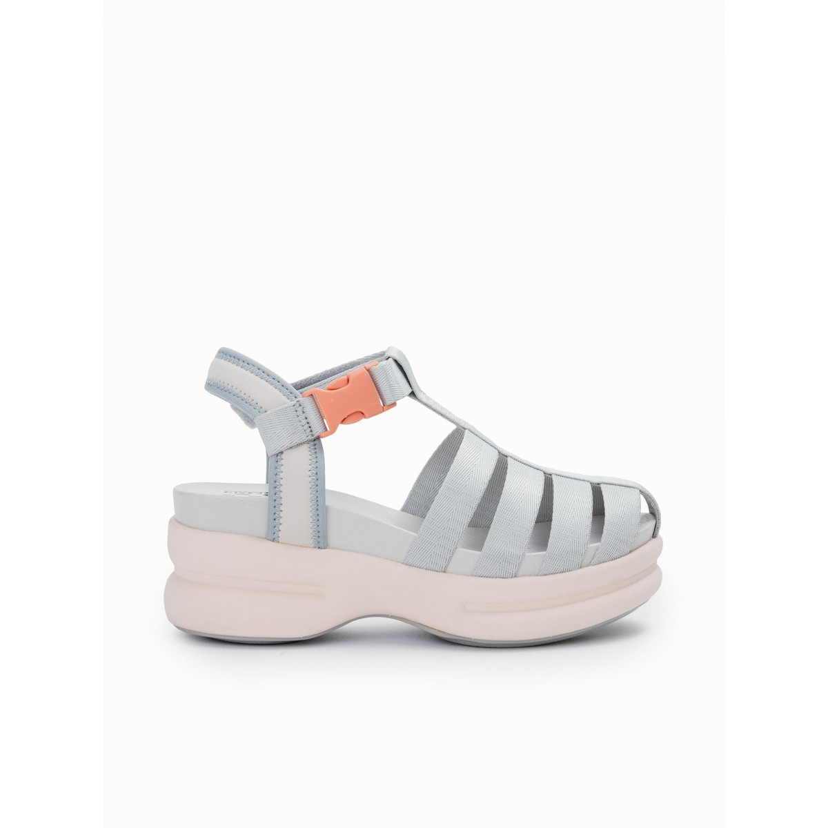 No Name CONCRETE STRAPPY - NYLON - L.GREY SOLE L.PINK
