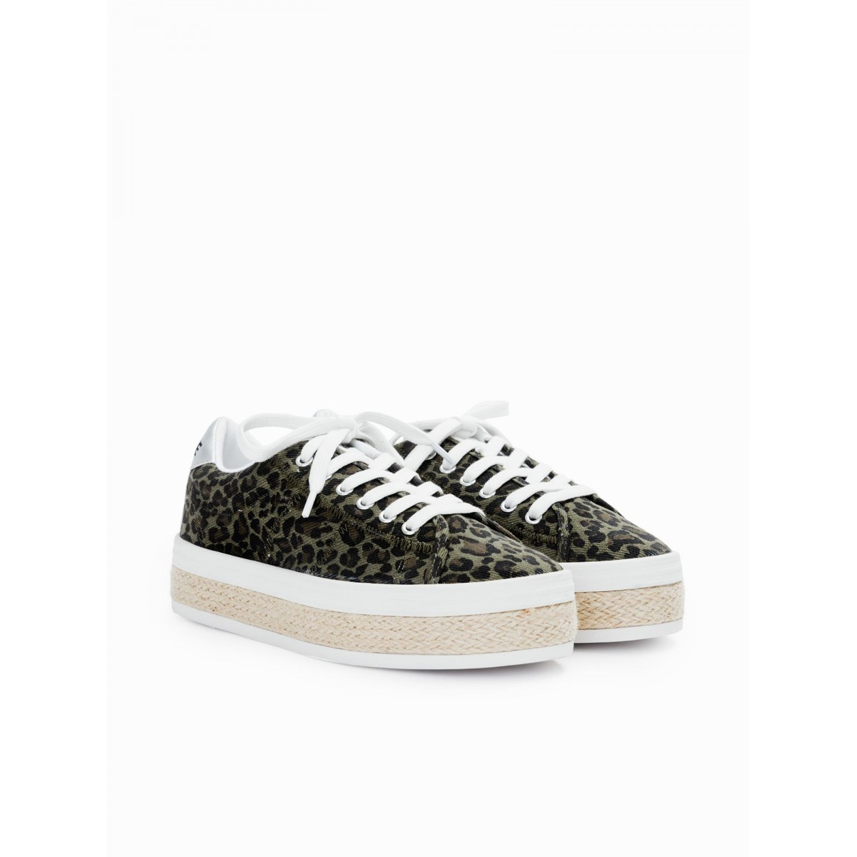 No Name MALIBU SNEAKER - CANVAS/LEOPARD - ARMY
