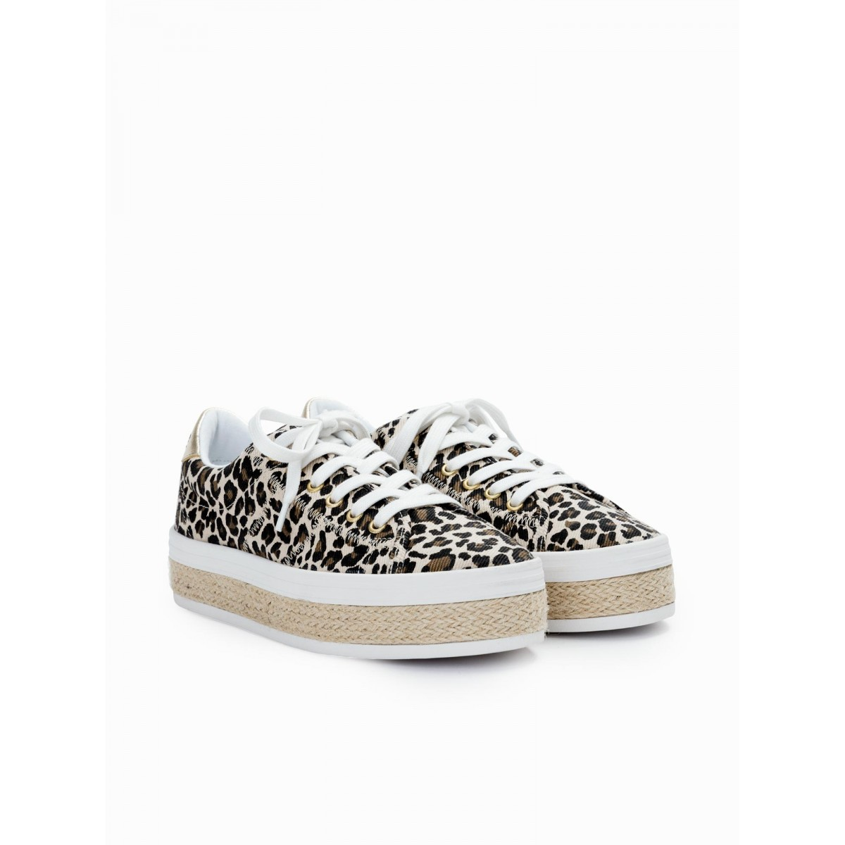 No Name MALIBU SNEAKER - CANVAS/LEOPARD - NATURAL