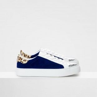 ARCADE SNEAKER - JAVA/GOAT SUEDE - SILVER/ROYAL