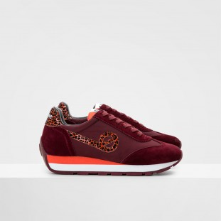 CITY RUN JOGGER - NYLON/COWSUEDE - Bordeaux