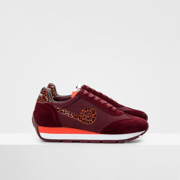 CITY RUN JOGGER - NYLON/COWSUEDE - BORDO/BORDO