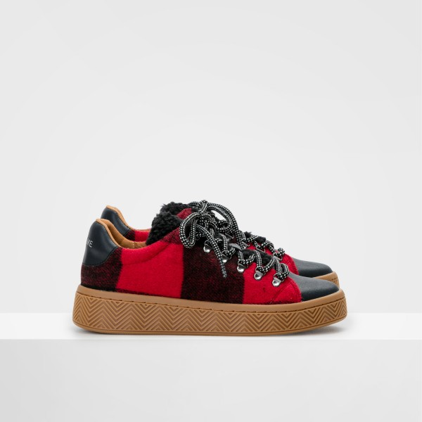 Ginger Sneaker - Silk/Scottish - Black/Carmin