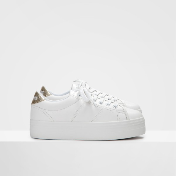 Plato Sneaker - Nappa/Crackle - White/Gold