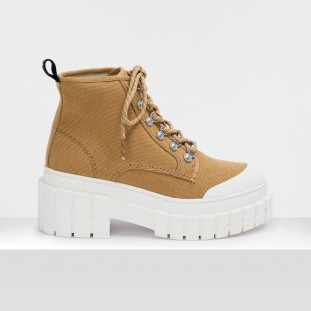 KROSS LOW BOOTS - BIG CANVAS - TAN SOLE IVORY