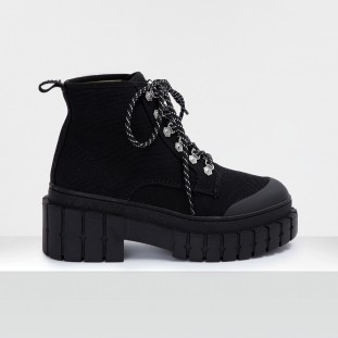 KROSS LOW BOOTS - BIG CANVAS - BLACK SOLE BLACK
