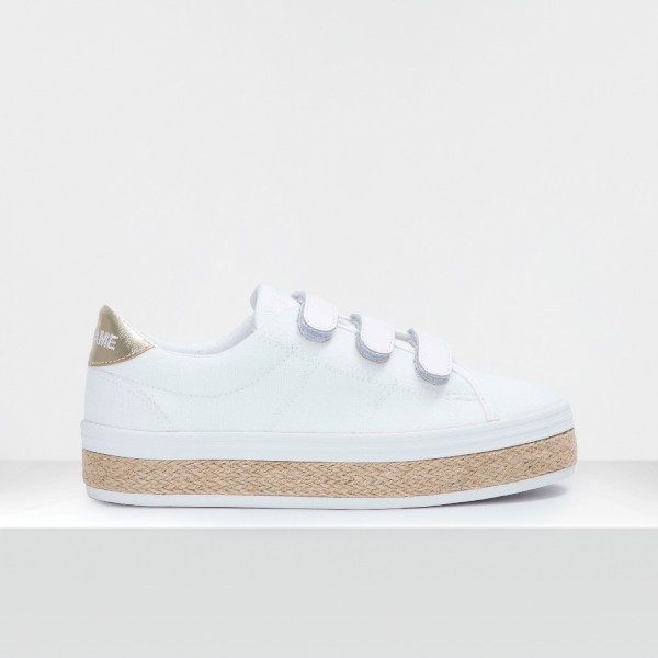 MALIBU STRAPS - CANVAS/BLUMY - WHITE/GOLD
