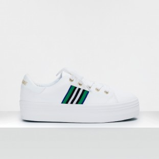 PLATO M DERBY - CANVAS/GALON - WHITE/GREEN-ROYAL