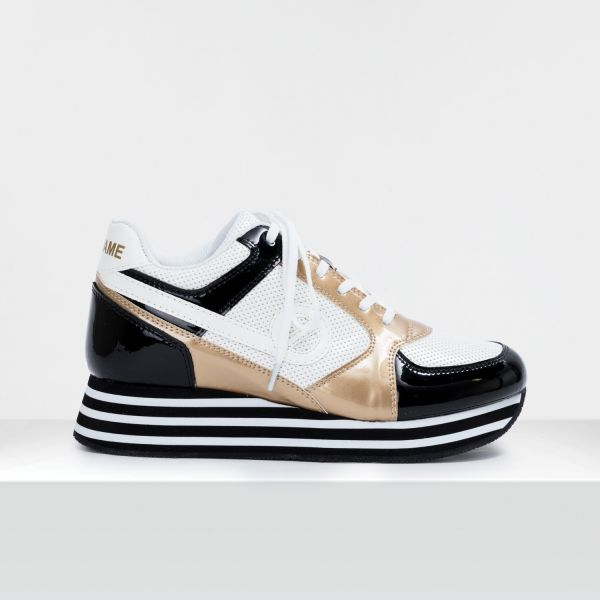 PARKO JOGGER - PAT/PUNCH/GLOSS - BLACK/WHITE/GOLD
