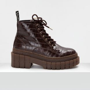 KROSS LOW BOOTS - SHINE P.CROCO - D.BROWN