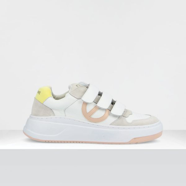 BRIDGET STRAPS - GR.NAPPA/GUM - WHITE/YELLOW
