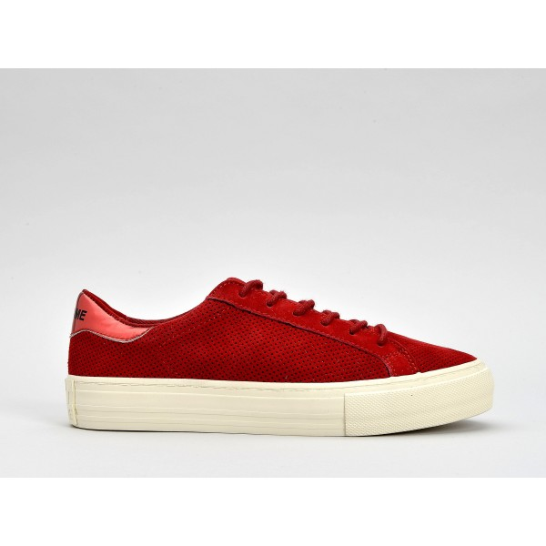 NO NAME ARCADE SNEAKER - PUNCH GOAT SUED - CERISE FOX DOVE