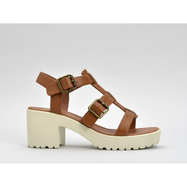 NO NAME TANGO SANDAL - NAPPA - TAN SOLE DOVE