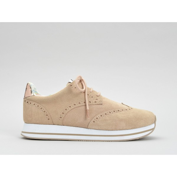 NO NAME TAILOR JOGGER - SUEDE/GLASS - POUDRE/CUIVRE