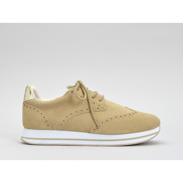NO NAME TAILOR JOGGER - SUEDE/GLASS - SABLE/L.GOLD