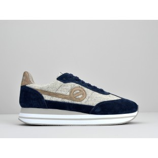 EDEN JOGGER - SUEDE/COTTONRIB - NIGHT BLUE/GRIS