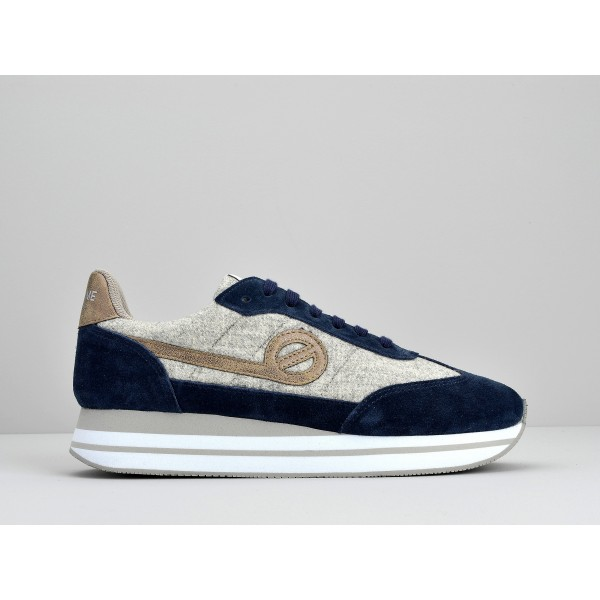 NO NAME EDEN JOGGER - SUEDE/COTTONRIB - NIGHT BLUE/GRIS