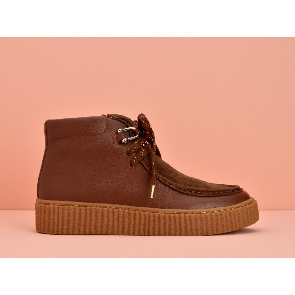 NO NAME PICADILLY MID PINK - NAPPA/GOATSUEDE - RUST/GINGER